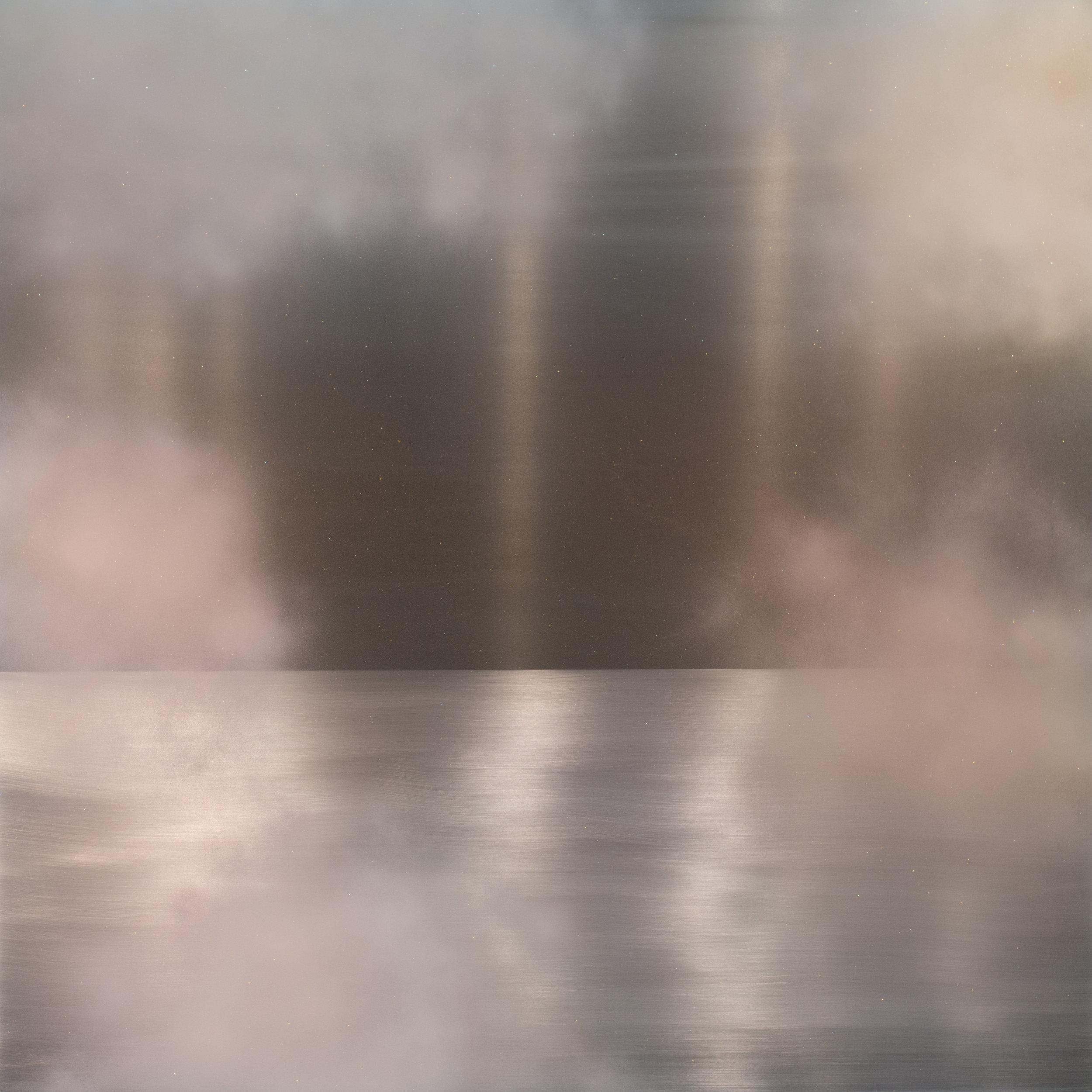 Miya Ando  Tasogare (Twilight) Peach Pink Yellow , 2018 Pigment, urethane, silver, mineral dust, dye, resin, aluminum 152.4 x 152.4 cm 60 x 60 in Photo: © Miya Ando Courtesy of the Artist