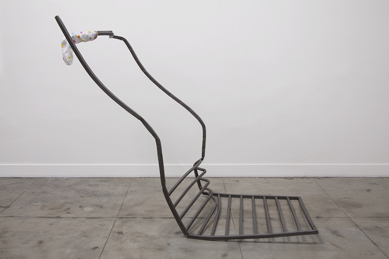Tanya Brodsky  Roomate , 2017 Found rolling gate (modified) sandblasted, coated, sock 58.4 x 96.5 x 45.7 cm 23 x 38 x 18 in Photo: © Tanya Brodsky Courtesy of Ochi Projects