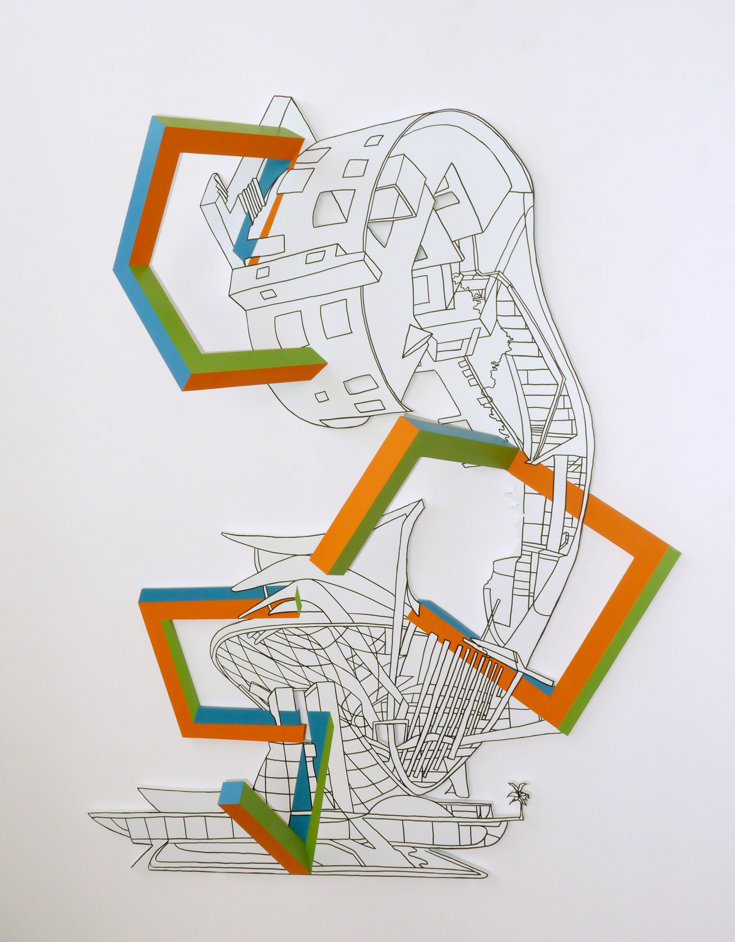 Kim Schoenstadt  Block Plan Series: USA/Brazil combination 3 , 2015 Pen and paint on wood with dimensional objects 152.4 x 106.7 x 35.6 cm 60 x 42 x 14 in Photo: © Kim Schoenstadt Courtesy of Chimento Contemporary