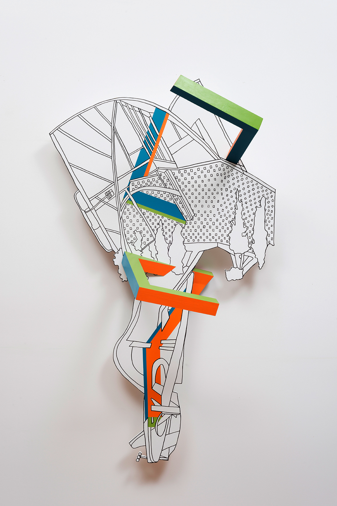 Kim Schoenstadt  Block Plan Series: USA/Brazil combination 1 , 2015 Pen and paint on wood with dimensional objects 143.5 x 88.9 x 44.5 cm 56 1/2 x 35 x 17 1/2 in Photo: © Kim Schoenstadt Courtesy of Chimento Contemporary