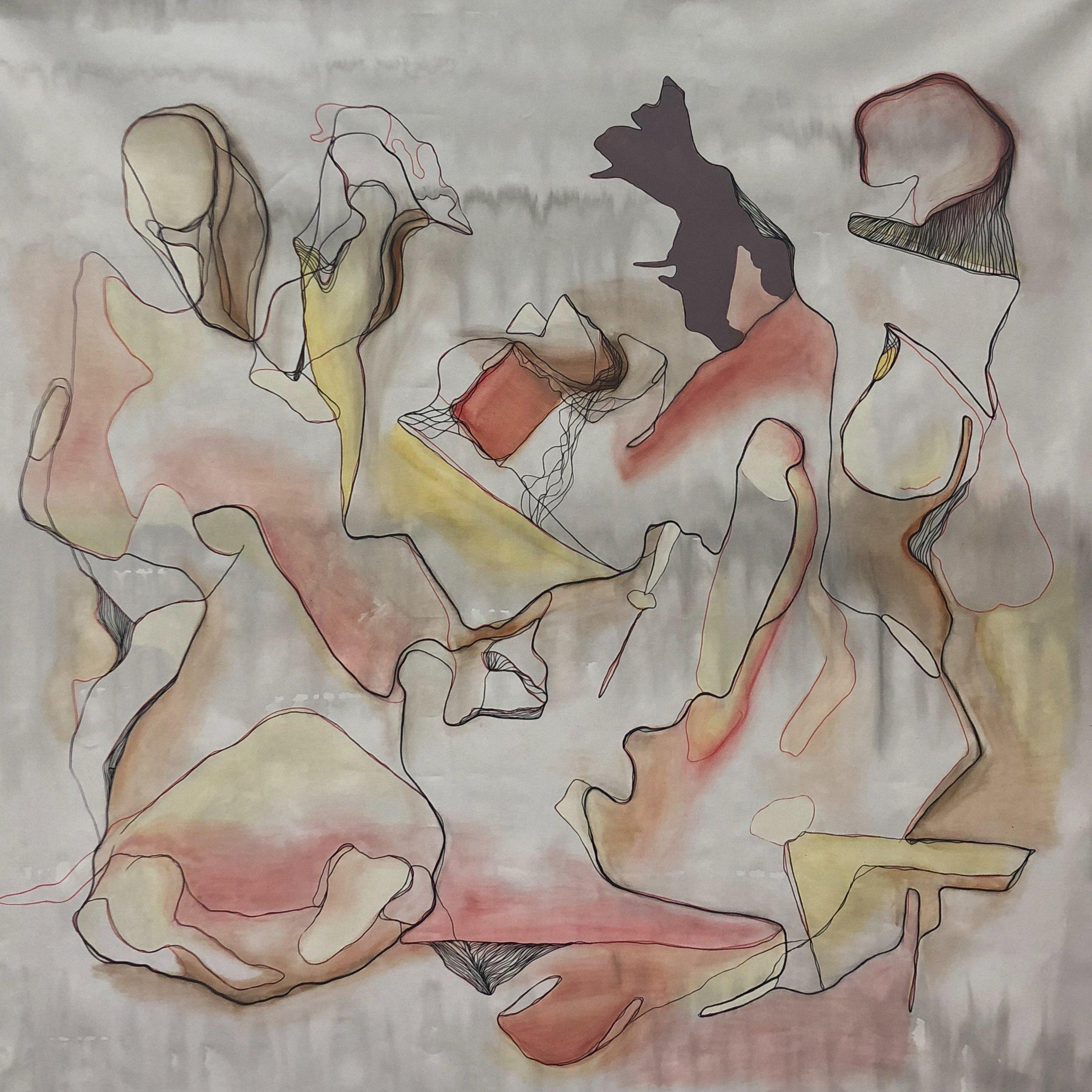 Amanda Maciel Antunes  Last Time I Saw You More Than Three Centuries Ago , 2018 Acrylic and pastel on canvas 152.4 x 152.4 cm 60 x 60 in Photo: Copyright Amanda Maciel Antunes Courtesy of the Artist