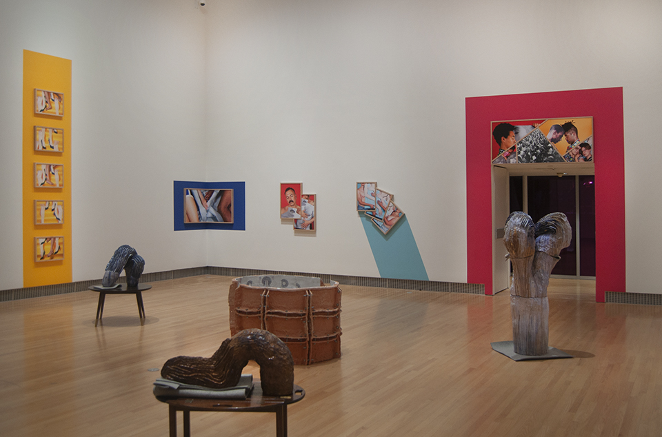 Bay Area Now 8 , installation view, Yerba Buena Center for the Arts, San Francisco, 2018. Artists:  Nicki Green  (sculptures) and  Marcela Pardo Ariza  (photography). Courtesy Yerba Buena Center for the Arts. Photograph by John Foster Cartwright.