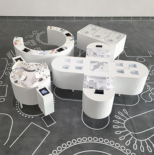 Urban Works Agency ,  A Seat at the Table , 2017, installation view,  Bay Area Now 8 , Yerba Buena Center for the Arts, San Francisco, 2018. Courtesy  Urban Works Agency .