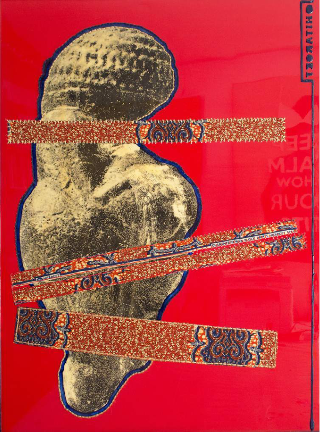 April Bey  Hitarget Venus (Red) , 2016 Ghanaian Hitarget Chinese Fabric Sewn into Resin on Panel, Acrylic Paint 40 x 36 in