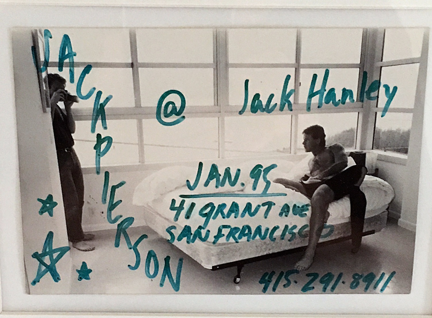 Jack Pierson  photo and drawing for poster,  Jack Hanley Gallery , 1995.