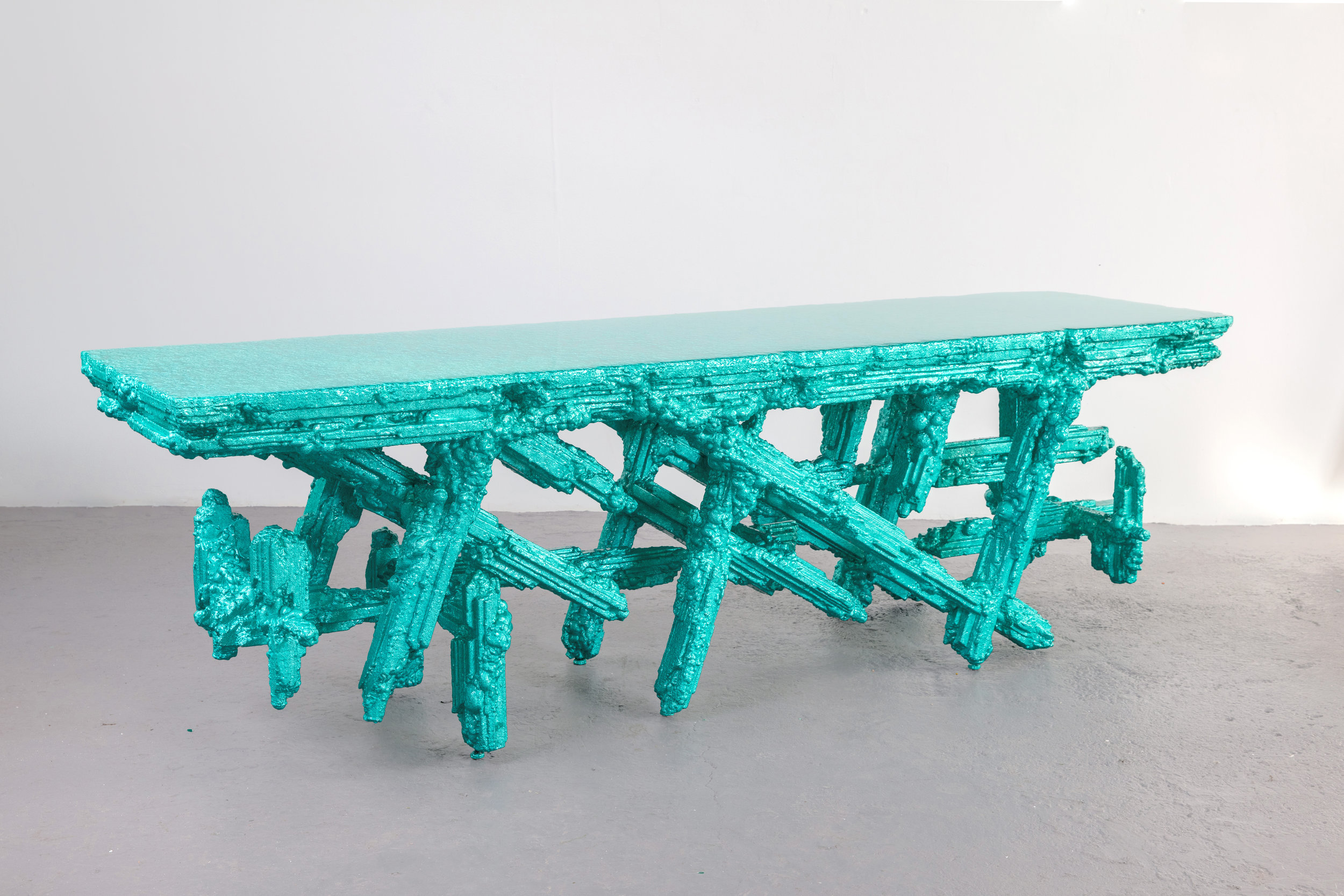 Arcane Console , 2017 100 x 28 x 31 inches Resin, steel, and polystyrene