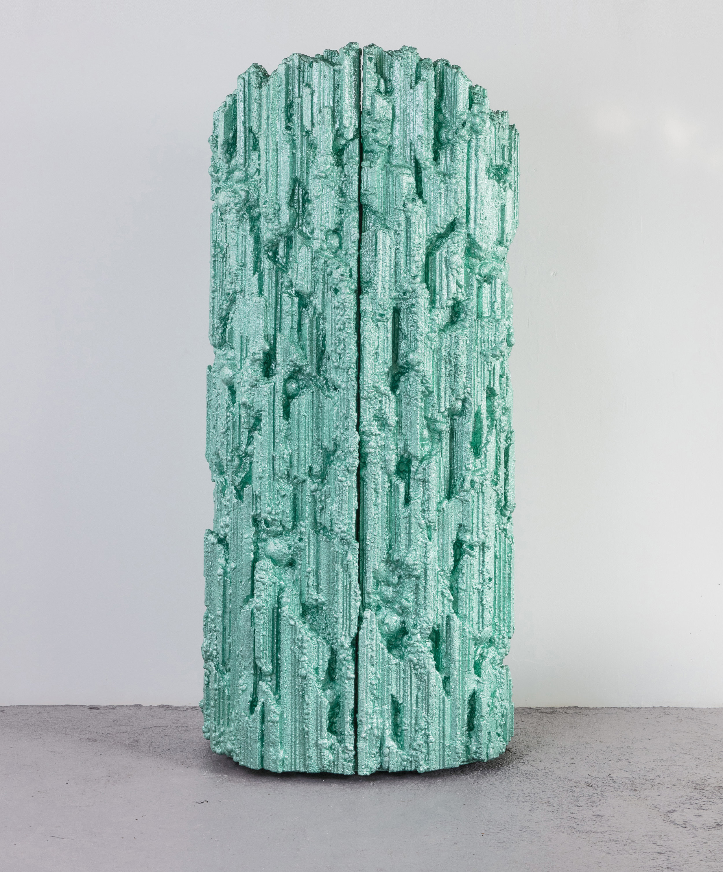Crustacea , 2017 40 x 24 x 90 inches Resin, steel, wood, polystyrene, and suede