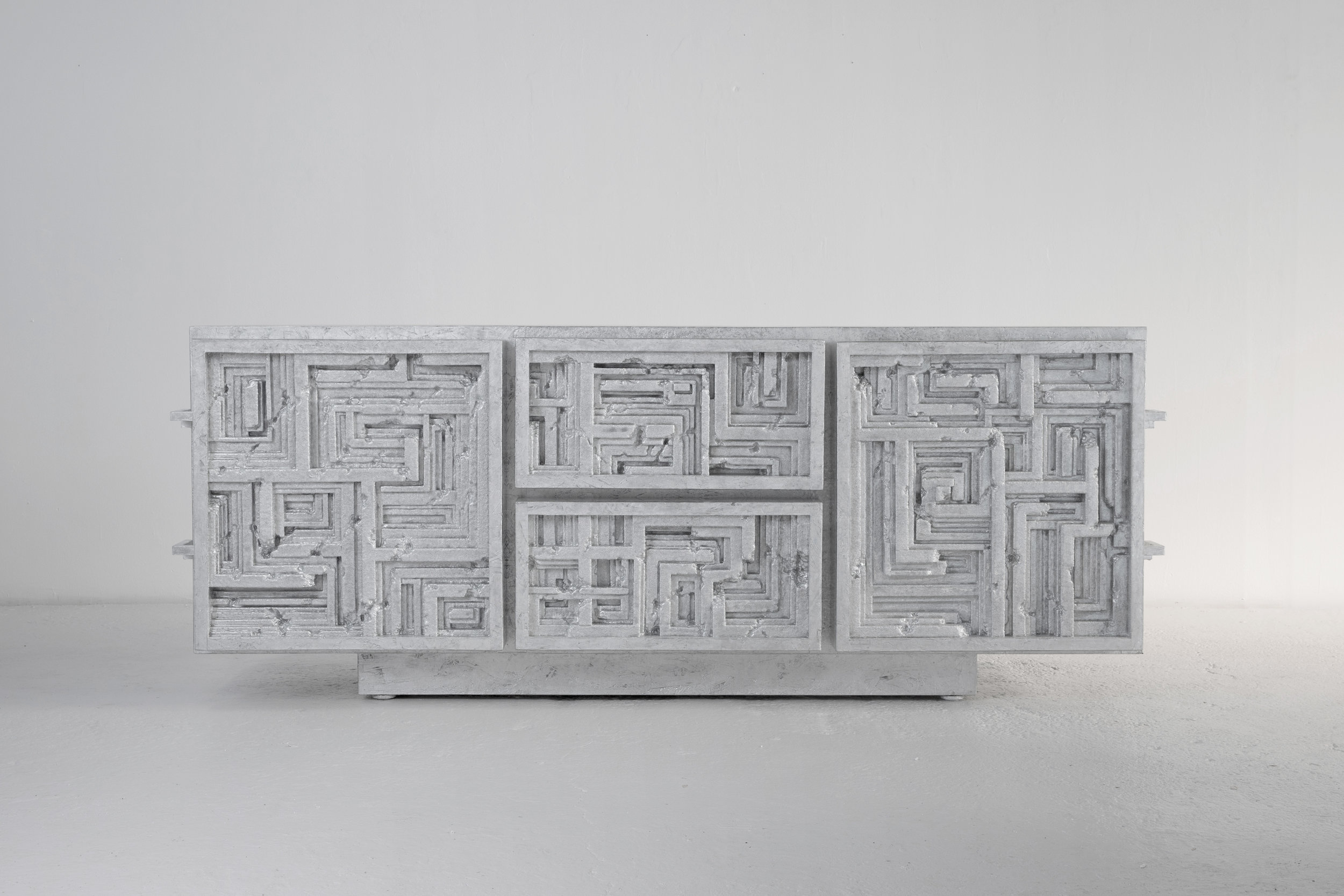Oubliette , 2017 80 x 20 x 32 inches Wood, polystyrene, resin, and leather