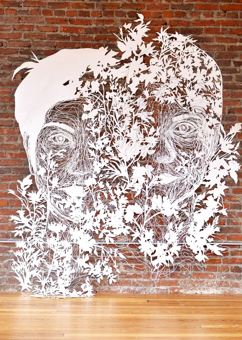 "Azza, 2017, hand-cut paper, approx. 78""x78"""