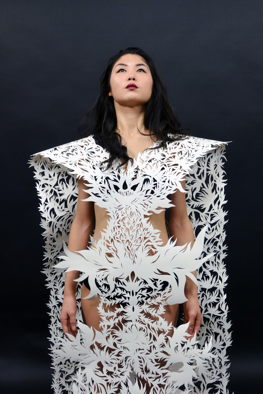 """Donrose, 2016, one of five hand-cut paper garments for the MIC/A Benefit Fashion Show, 40""""x96"""""""
