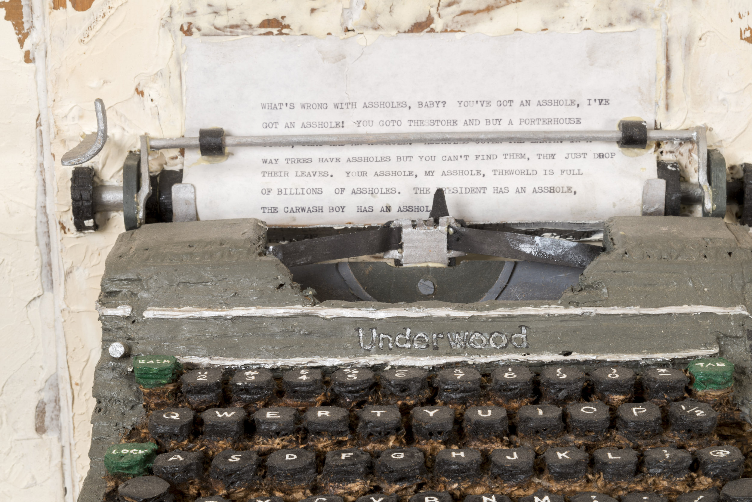 'Charles Bukowski's Underwood Champion' (detail), 2013, mixed media, approx. 30 x 36 x 12 inches. Photo credit: Joshua White/JWPictures.com