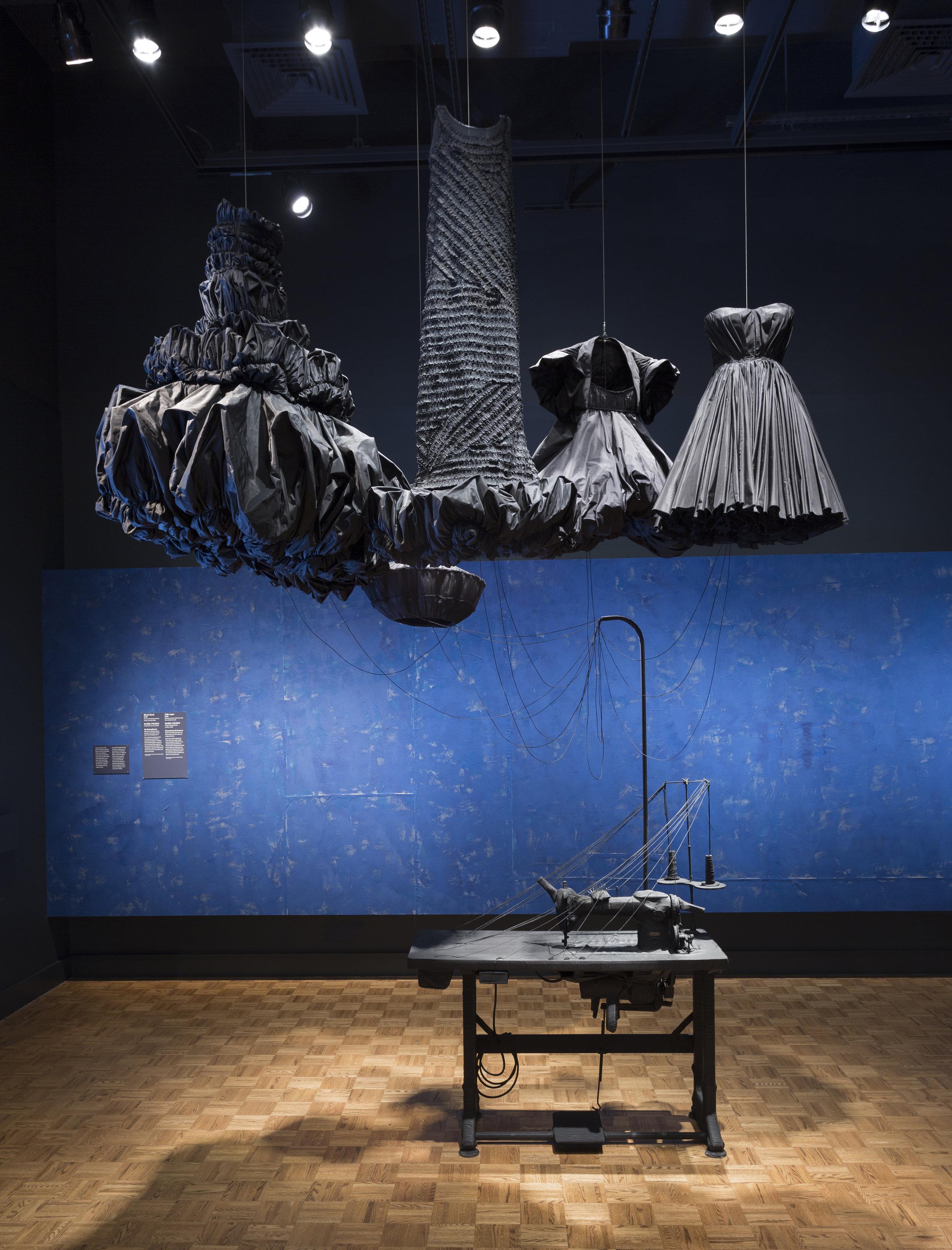 Black Cloud , 2018, Silk-covered sewing machine, thread, and silk taffeta, Photo Credit © Detroit Institute of Arts