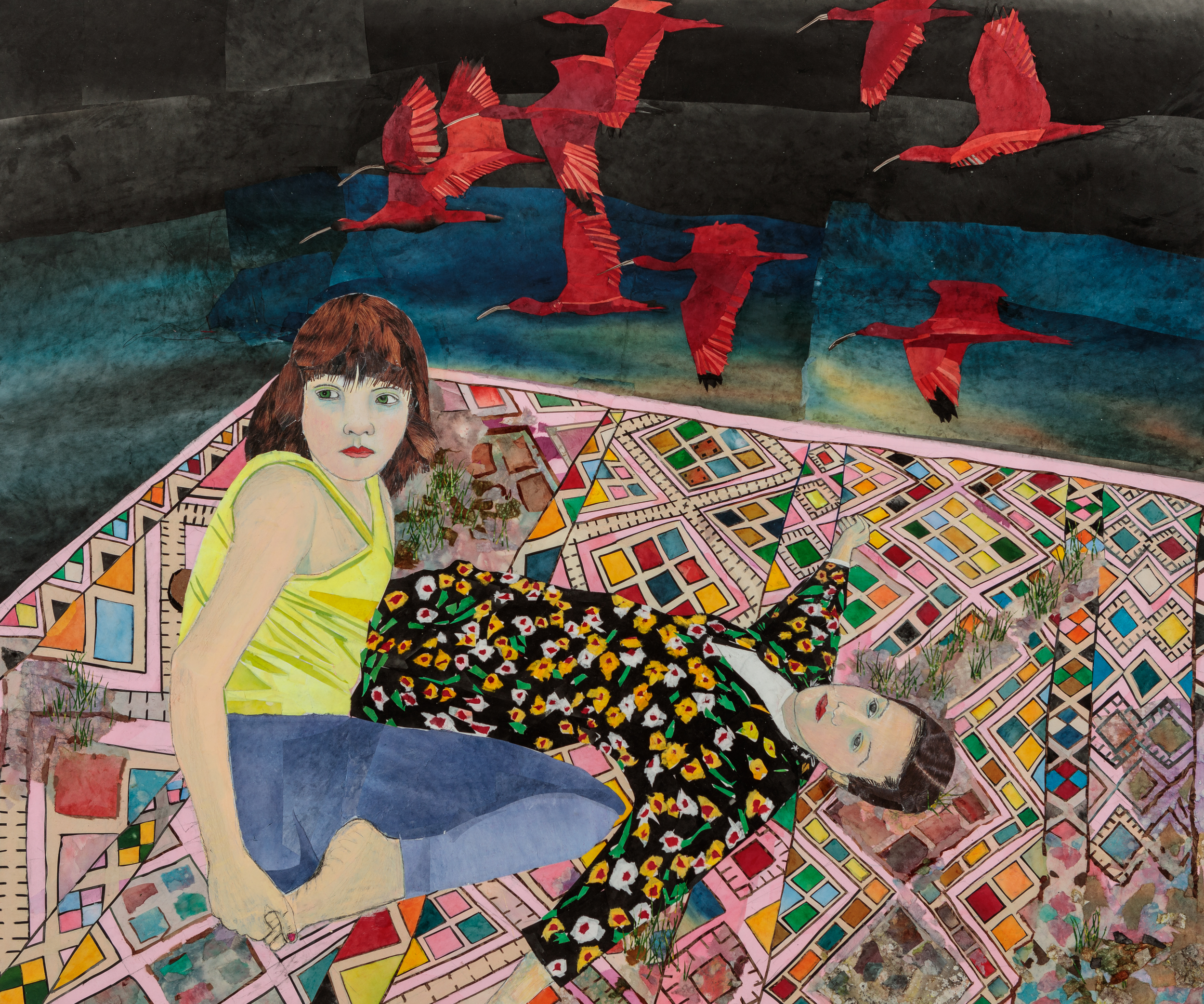 María Berrío,  The Dream of Flight , 2019, collage with Japanese paper and watercolor paint, 60 x 72 inches. Courtesy the artist and Kohn Gallery.