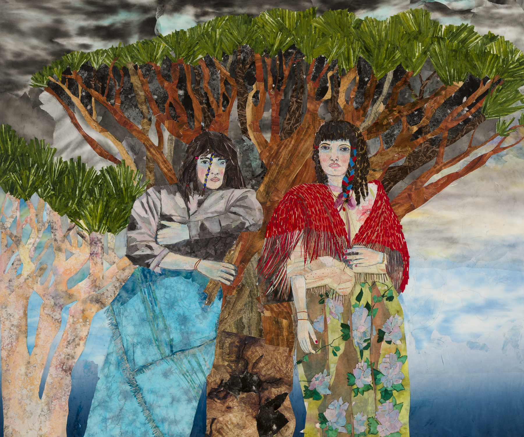 María Berrío,  A Cloud's Roots , 2018, collage with Japanese papers and watercolor paint, 80 x 96 inches. Courtesy the artist and Kohn Gallery.