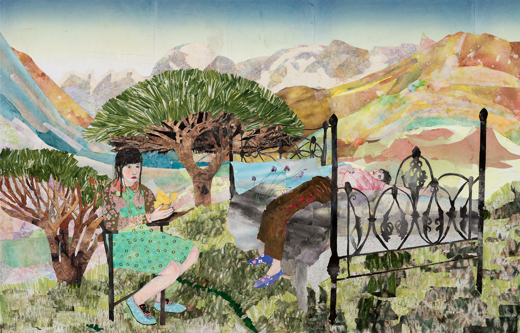 María Berrío,  Anemochory , 2019, collage with Japanese paper and watercolor paint, 77 x 120 inches. Courtesy the artist and Kohn Gallery.