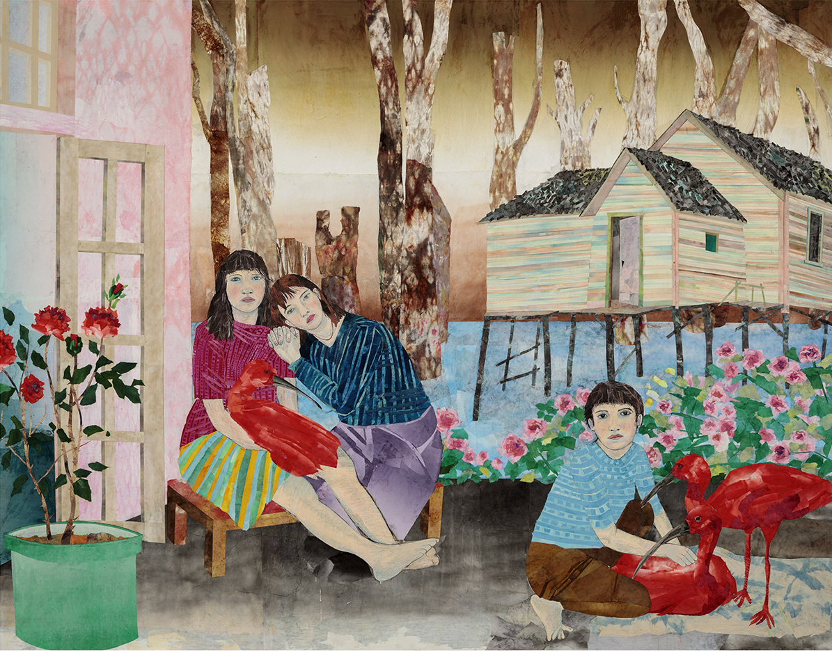María Berrío,  The Paradise of Others , 2019, collage with Japanese paper and watercolor paint on canvas, 92 x 118 inches. Courtesy the artist and Kohn Gallery.