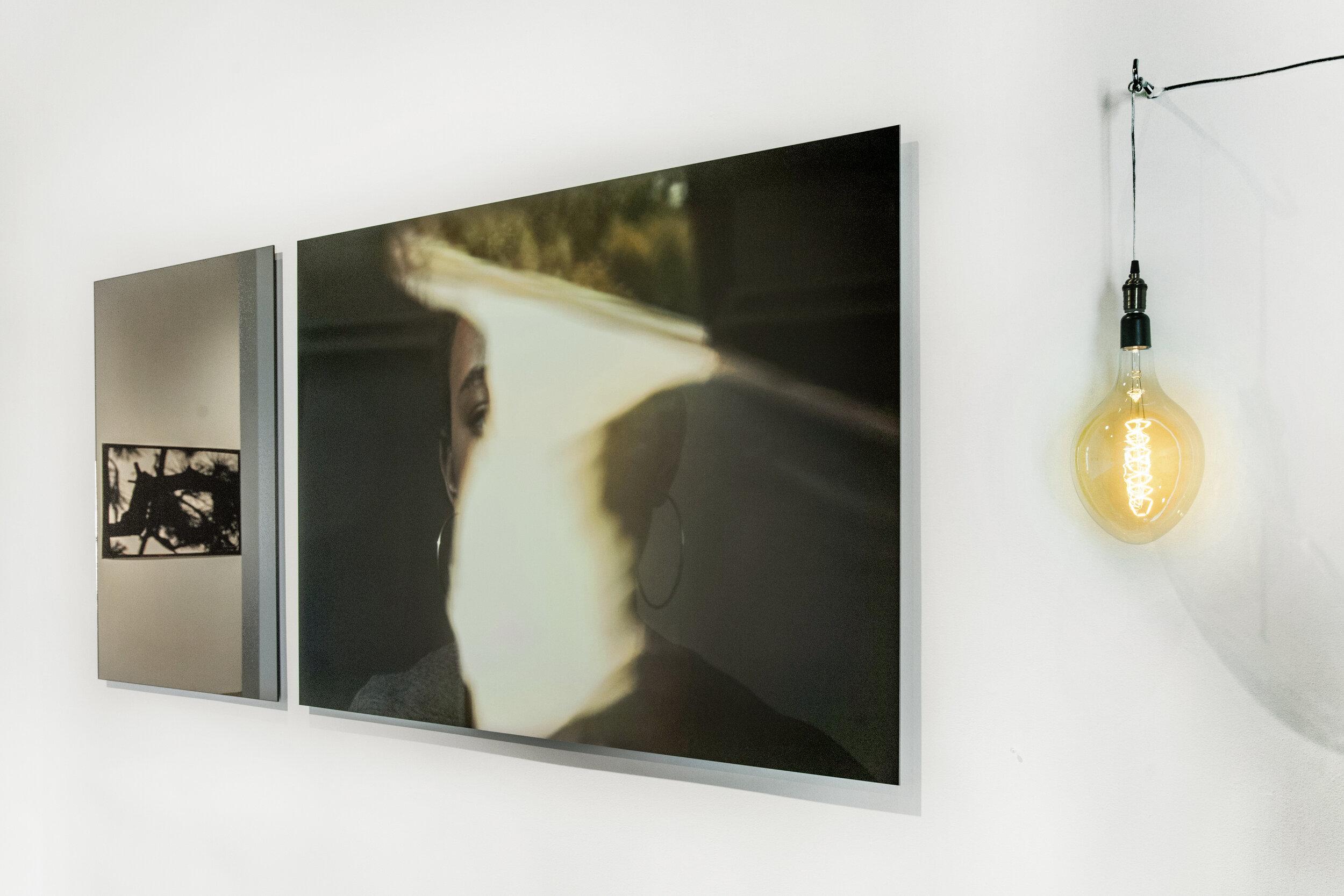 Triptych Sorhan , Bronze mirror 34x47in, Gyclee print on dibond, 65x34in, light bulb, 2018