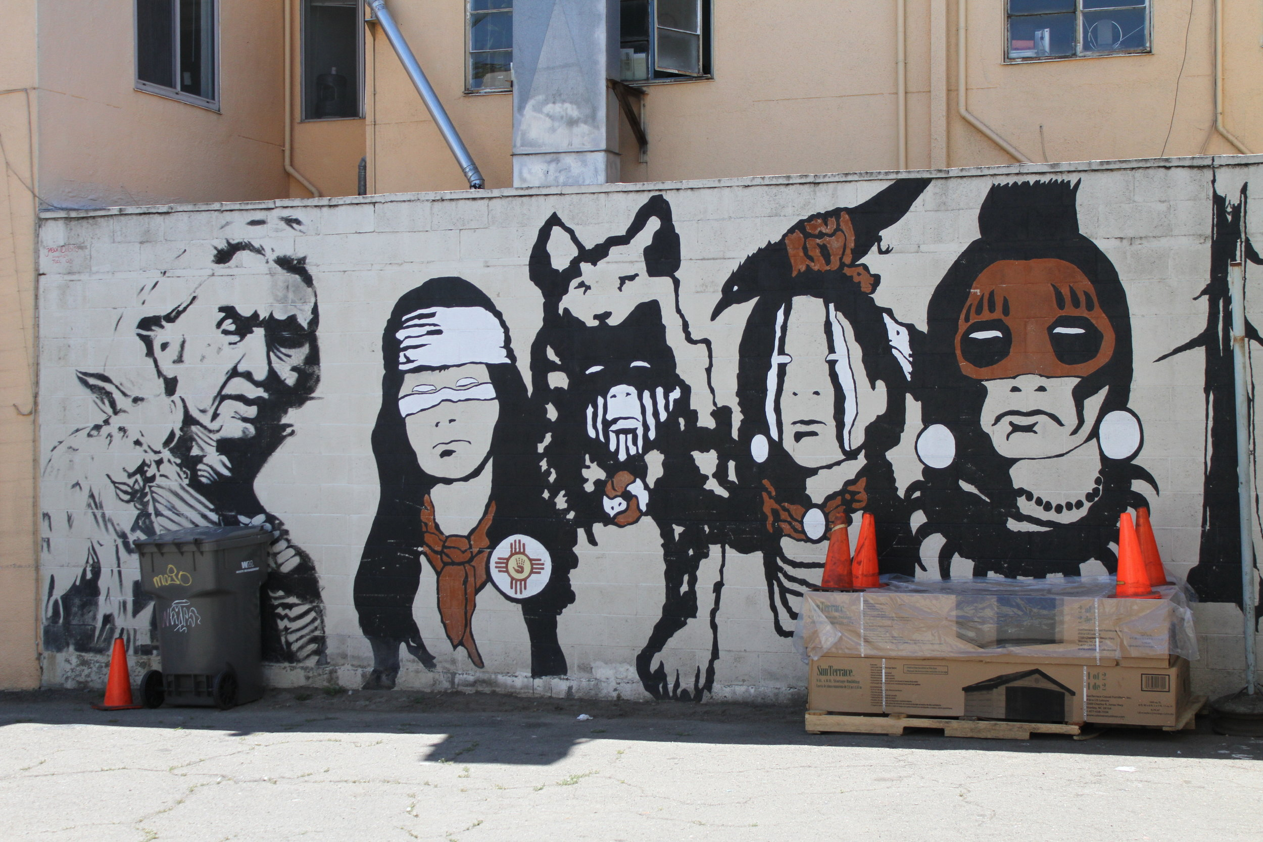 "Location Shot: Intertribal Friendship House in Oakland ""Indian Activist Mural"""