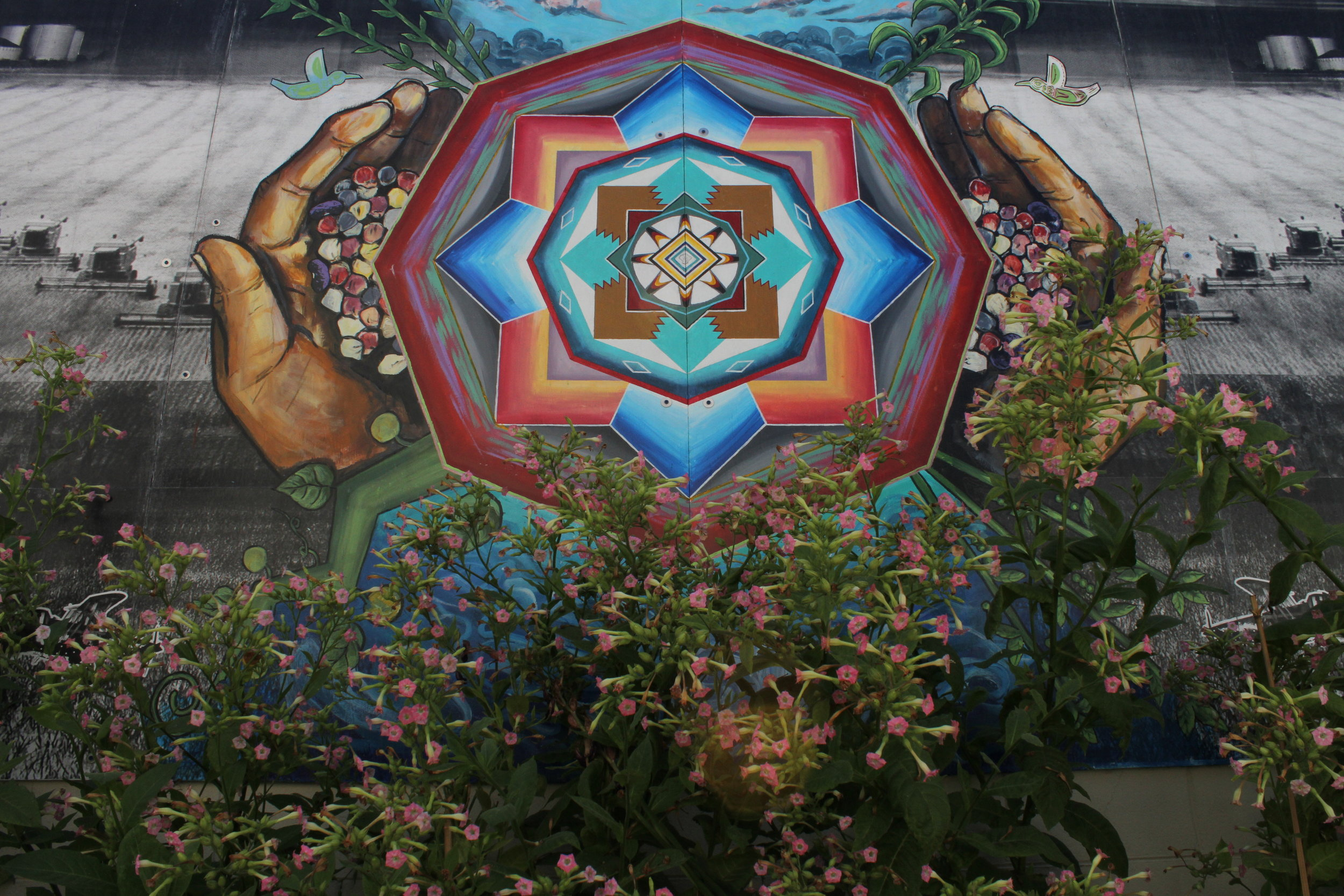 "Location Shot: Intertribal Friendship House in Oakland ""Indian Hands Mural"""