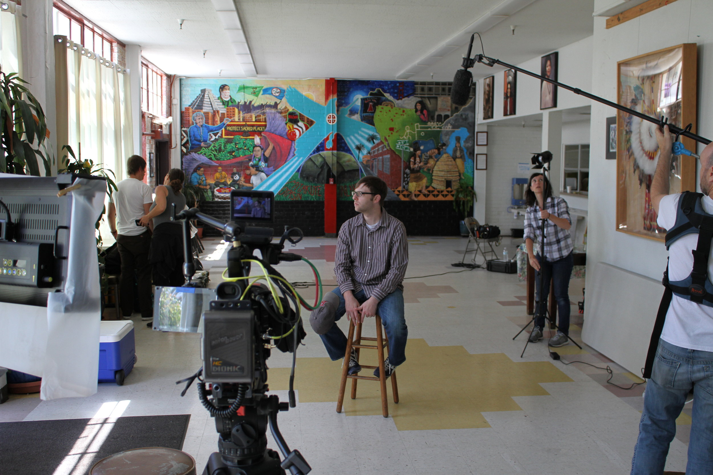 On location at the Intertribal Friendship House in Oakland, CA the Mankiller crew sets up the shot for Mary Smith's interview