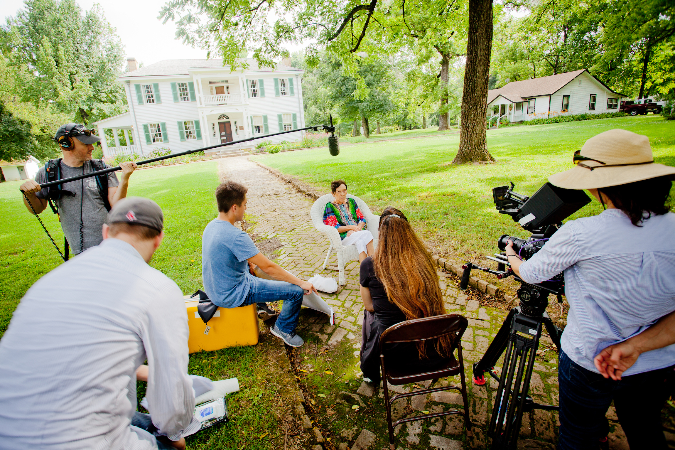 On location at the Murrell Home in Oklahoma, the Mankiller Documentary crew interviews Virginia Carey, a Cherokee elder