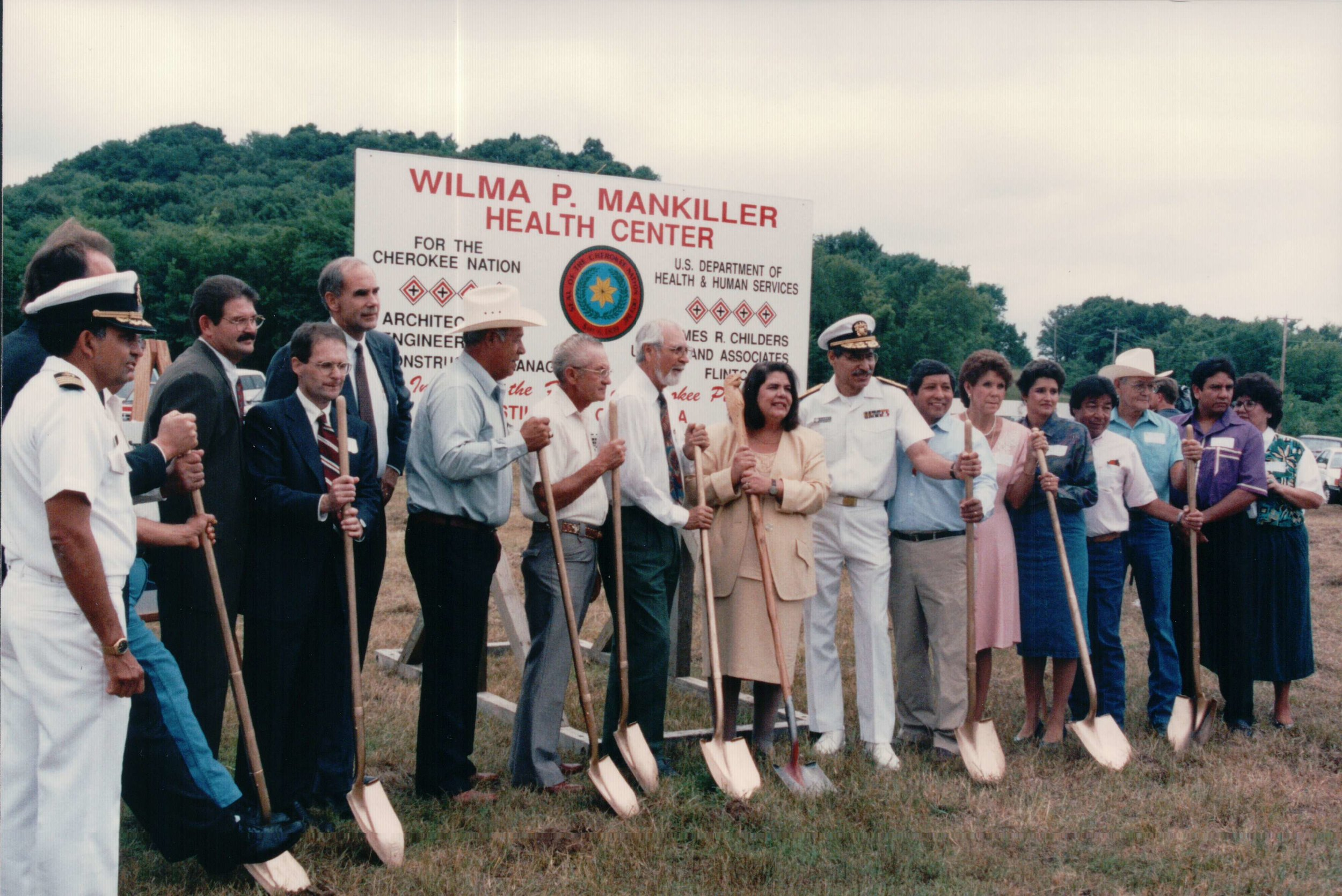 Wilma Mankiller and colleagues hold ceremonial shovels at the goundbreaking of the Wilma P. Mankiller Health Center
