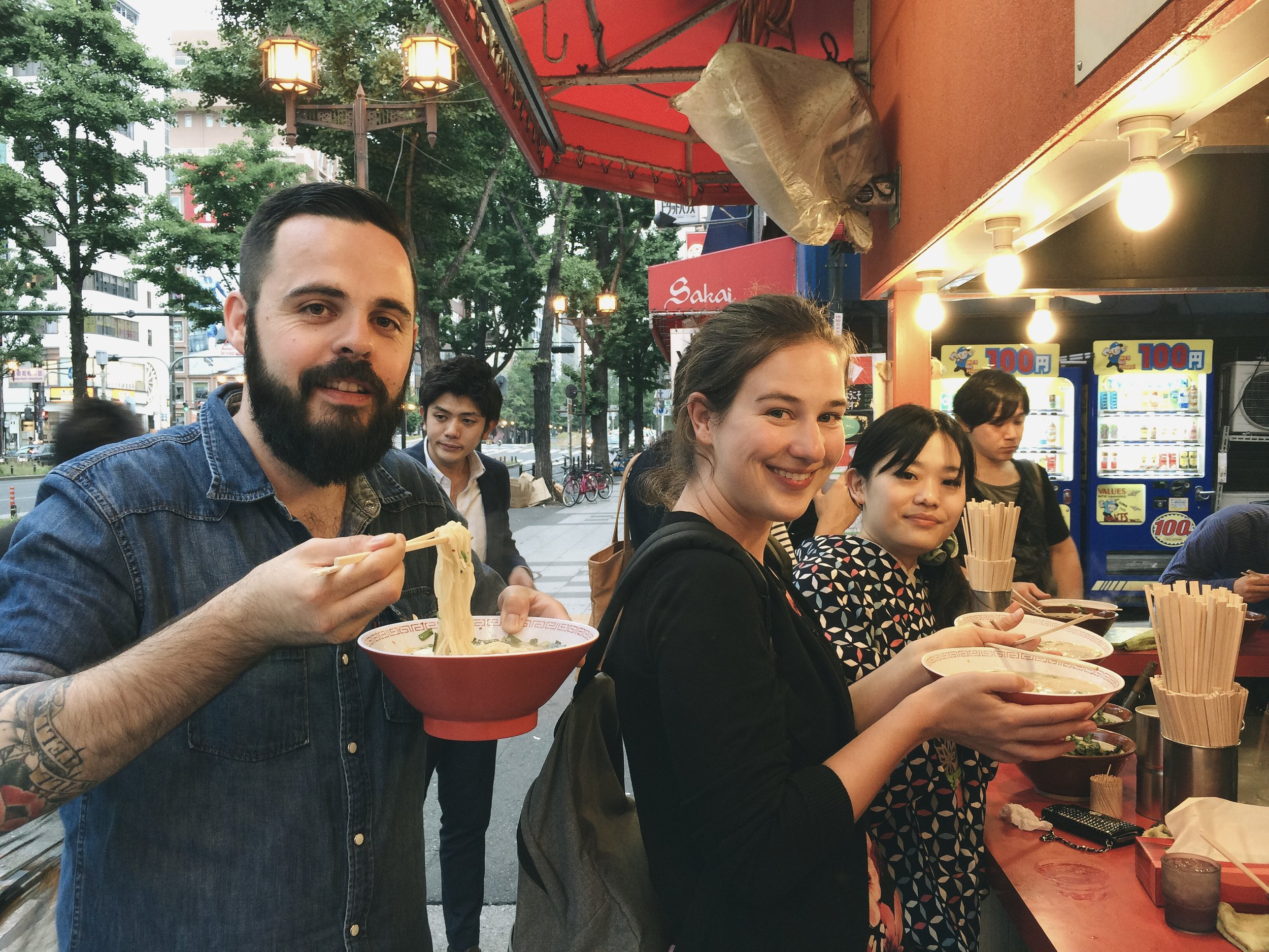 having a delicious ramen at 5:30 am in Osaka with Kim from Belgium and our friends from Japan.