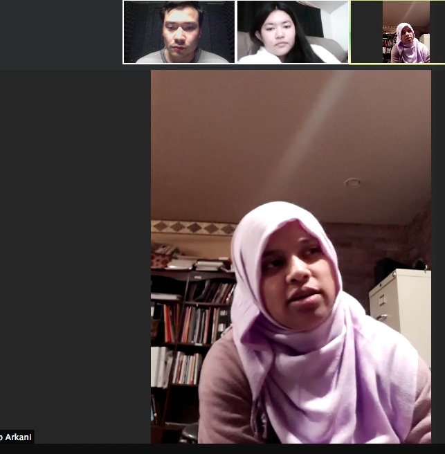 Zoom conference call between a Rohingya refugee and Burmese-American student (BURMA CONNECT)