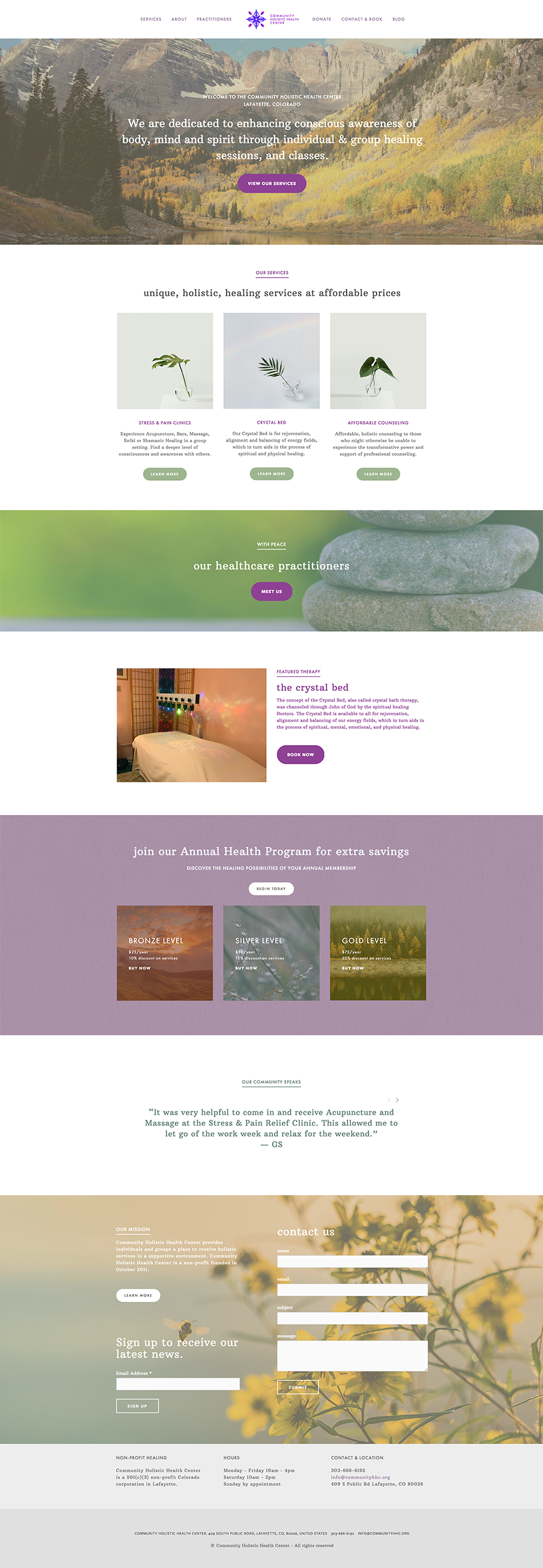 COMMUNITY HOLISTIC HEALTH CENTER  squarespace |  see the site live »