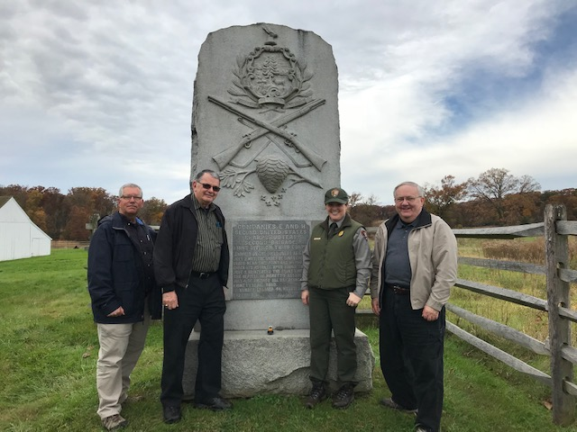 Vermont Sharpshooters monument. (L-R) Jeff Gates, Tony Major, Caitlin Brown & Chuck Cannon