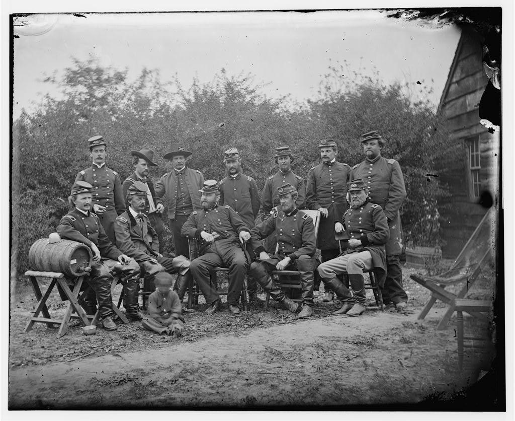Generals Andrew A. Humphreys, Henry Slocum, William B. Franklin, William F. Barry, John Newton, and others gathered near a keg of beer at Cumberland Landing, Va, in May of 1862.