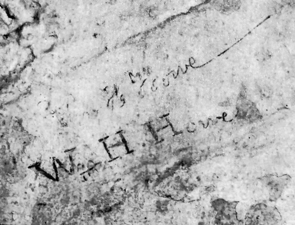 Howe inscribed his signature on the wall of his cell at Fort Mifflin.  Photo by Elizabeth Beatty, executive director of Fort Mifflin on the Delaware