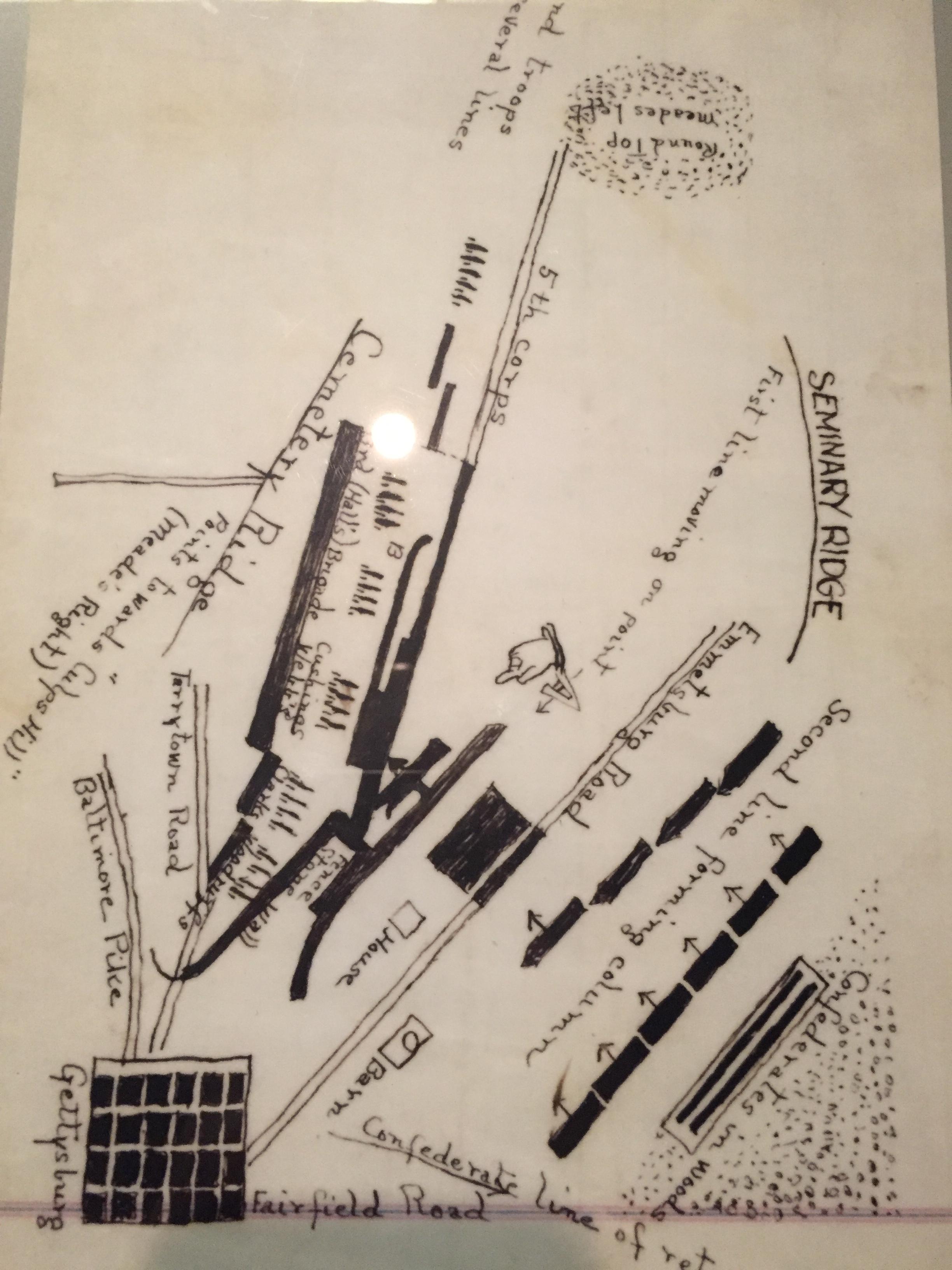 Hand drawn map by George Pickett of third day's battle at Gettysburg