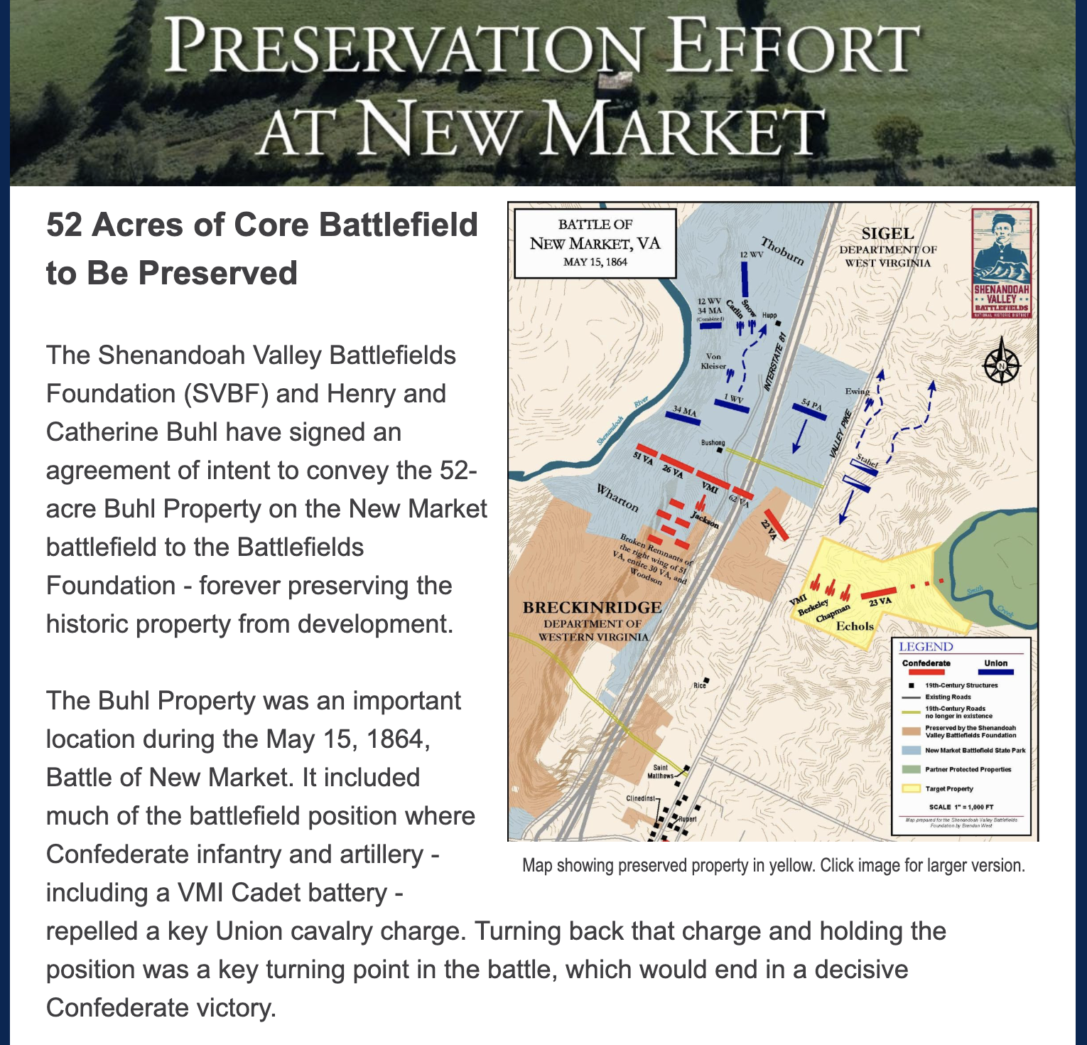 News from the Shenandoah Battlefields Foundation - an effort support by Eastern PA Civil War Round Table