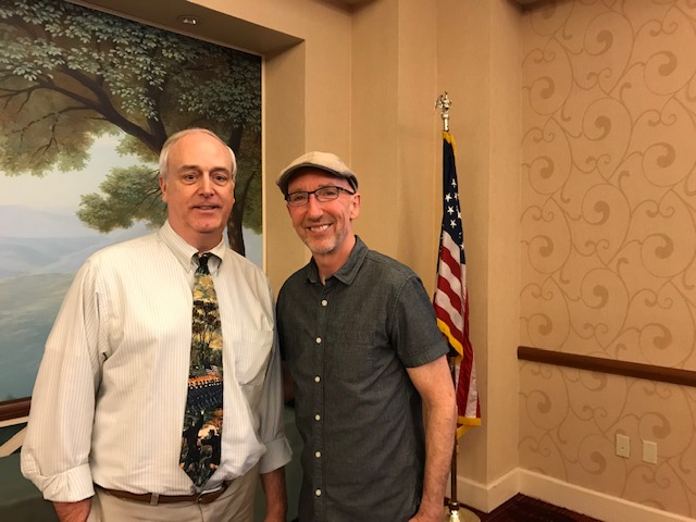 Left: Bob McHugh CWRT Program Coordinator;  Right: Tom McMillan author of Gettysburg Rebels