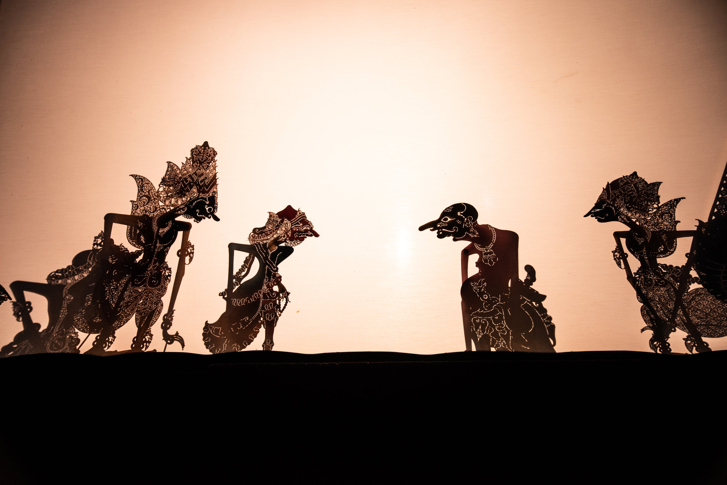 The Wayang Kulit shadow puppets tell a story