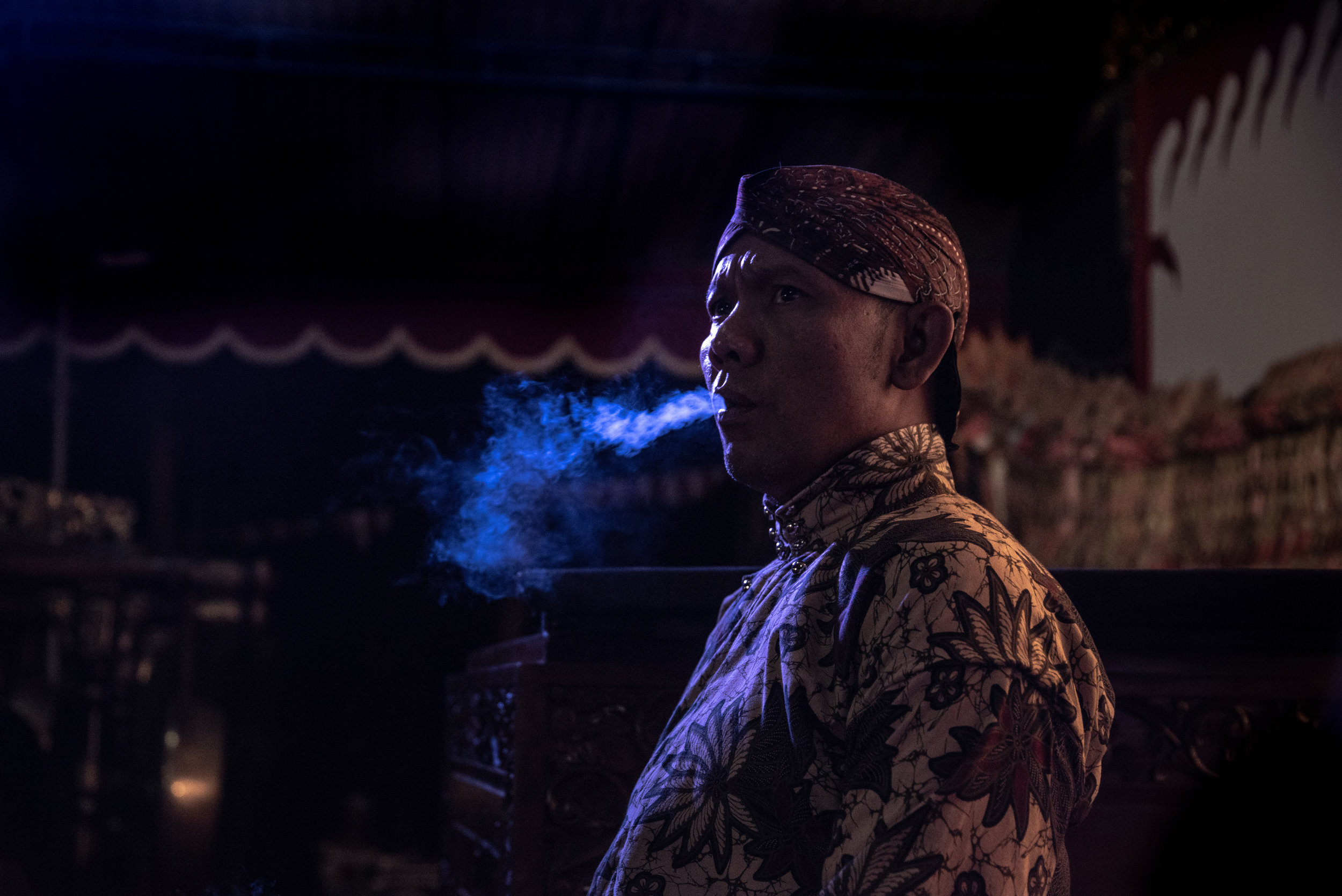 Ki Seno breathes smoke moments before he begins his performance