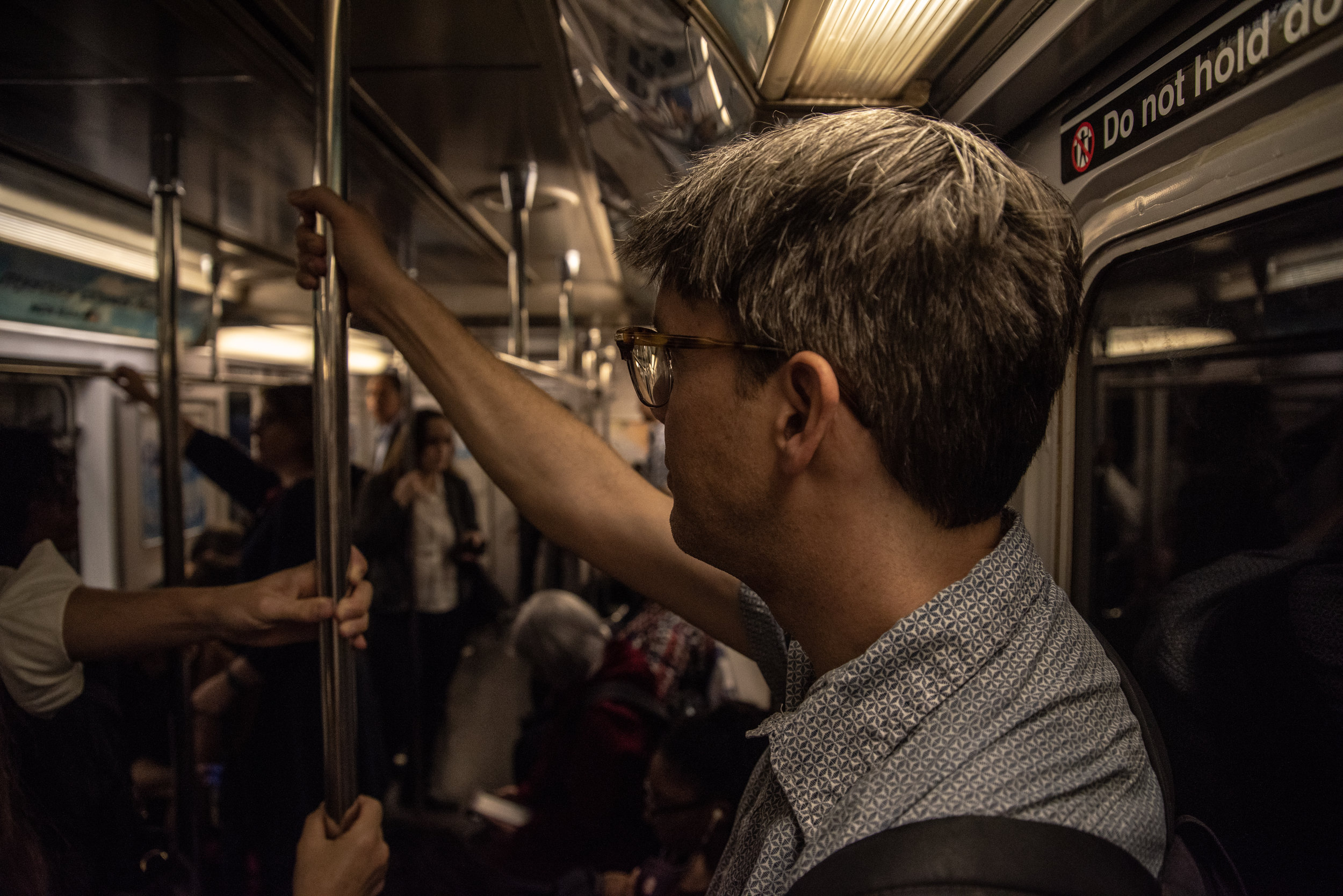 Tom joins the morning rush on the New York City subway