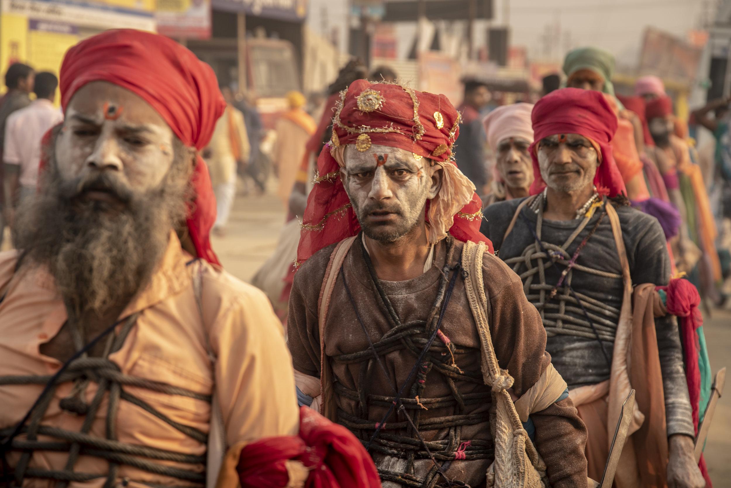 Religious acolytes enter the Mela