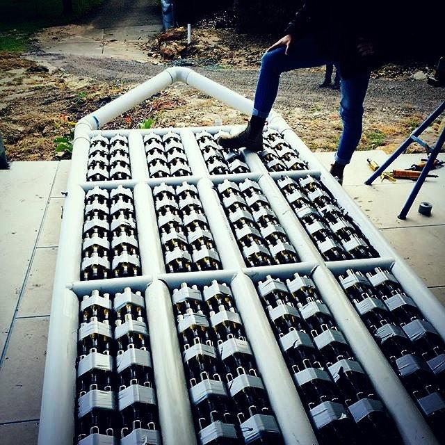 It takes a lot of bottle to make a @bottleboat  #bottleboat #kookswines #darwin #sydney #beercanregatta #asrc