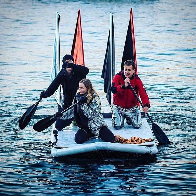 But does it float?  Oh yes.  #bottleboat #beercanregatta #asrc #sydney #darwin #kookswines #labouroflove