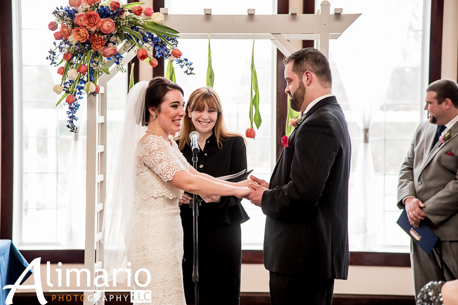 South Jersey Wedding Florist - A Garden Party Florist - Alimario Photography - Running Deer Golf Club - spring wedding - blue wedding flowers - pink wedding flowers - floating candles - tulips
