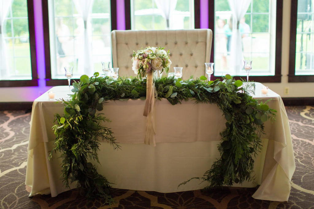 South Jersey Wedding Florist - A Garden Party - Running Deer Golf Club - Tami Melissa Photography - blush wedding - greenery - garland - candelabra - anemone - peonies