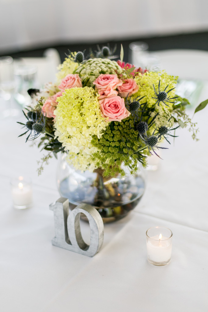 Maryland Wedding Florist - A Garden Party Florist - Kitty Knight House - Edwin Remsberg Photography - protea - greenery - chalk art - summer wedding - waterfront wedding - thistle - Queen Anne's Lace