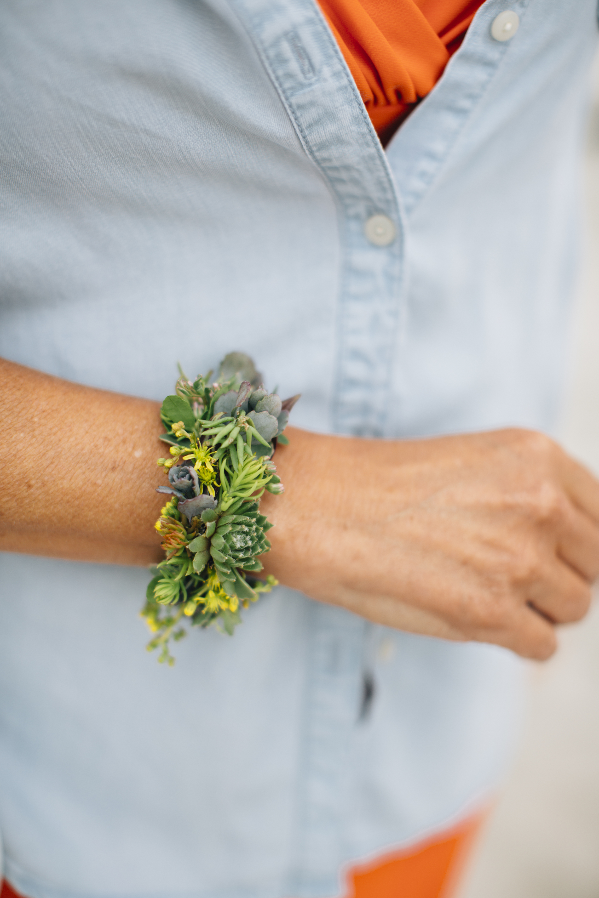 NJ Wedding, Flower Cuff, Succulent Corsage, Salt Water Studios
