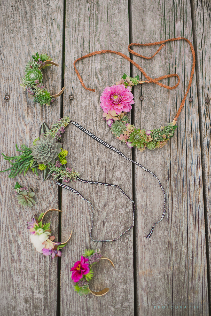 Floral Jewelry, Flower Necklace, Floral Cuff, Succulent Wedding, Rachel Pearlman Photography