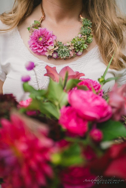 Flower Necklace, Pink bouquet, NJ Bride, Wedding Flowers, Succulent Necklace, Rachel Pearlman Photography