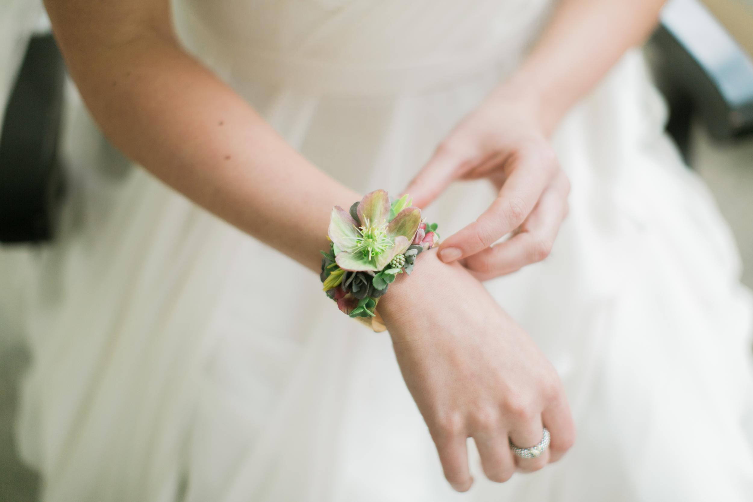 NJ Wedding, Philadelphia Wedding, Flower Cuff, Floral Jewelry, Succulent, Emily Wren Photography