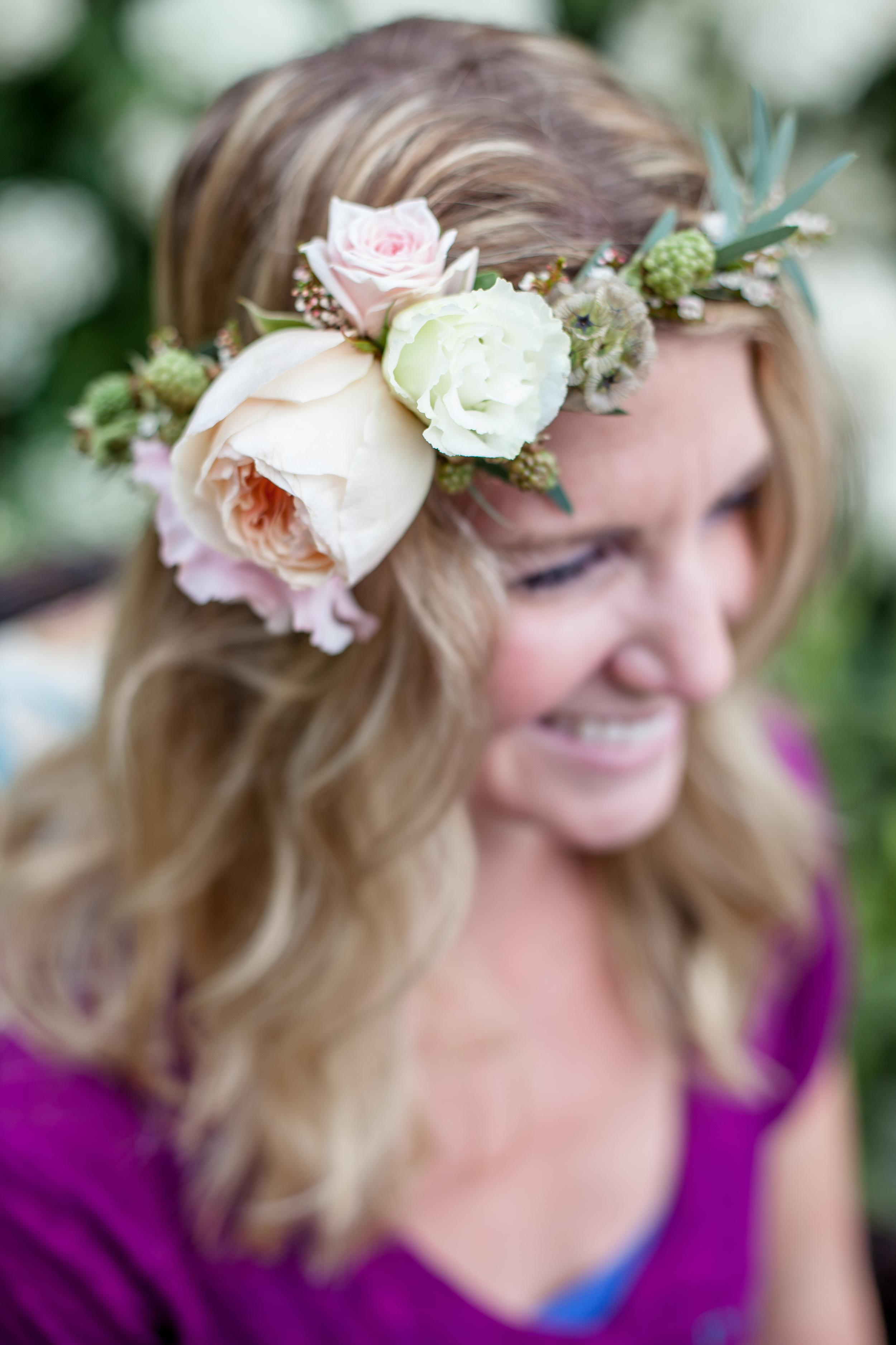NJ Wedding, Flower Crown, Greenery Head Wreath, Yana Shellman Photography