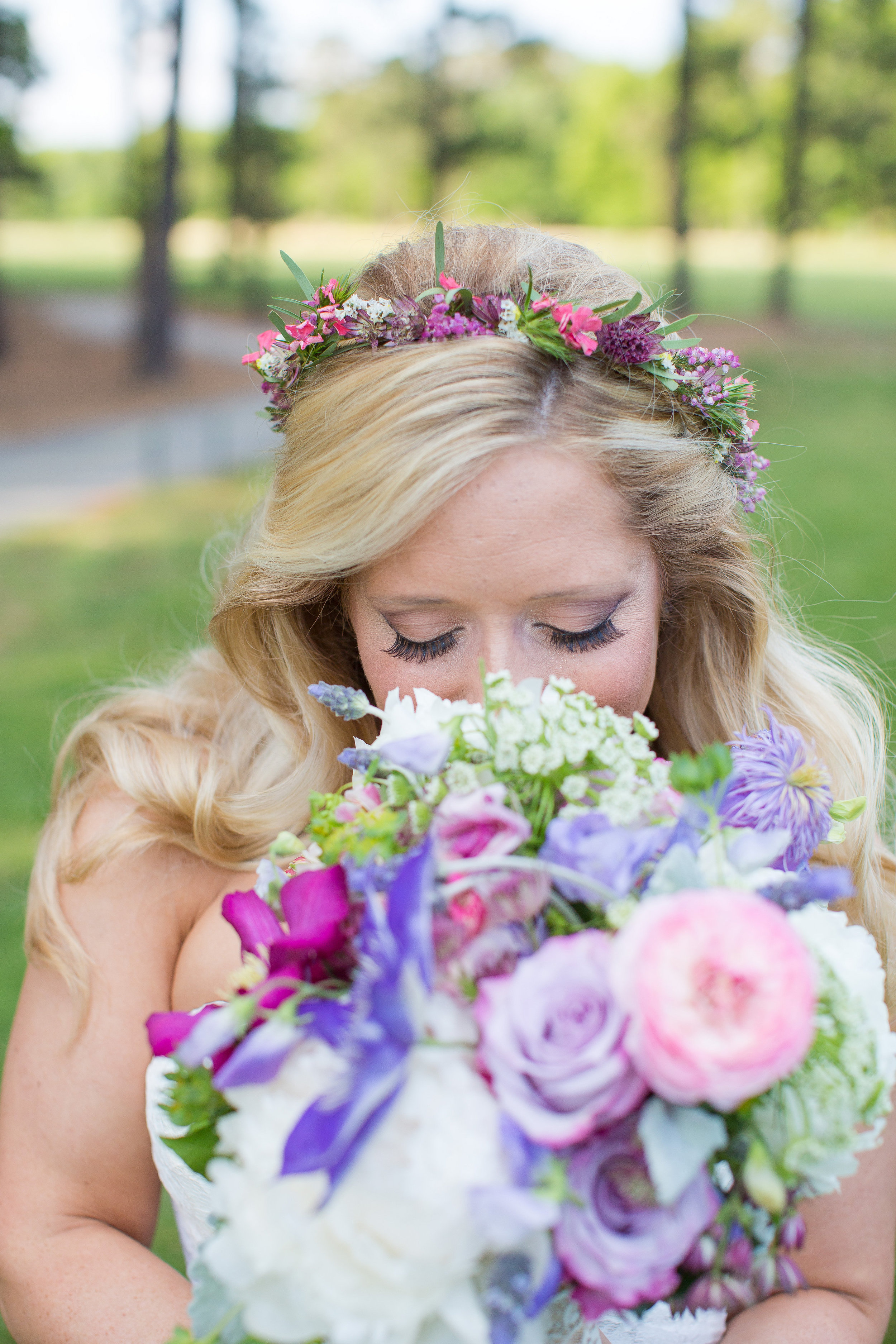 NJ Wedding, Running Deer Golf Club, Flower Crown, Lavender Bouquet, Bride, Bridal Flowers, Tina Elizabeth Photohraphy